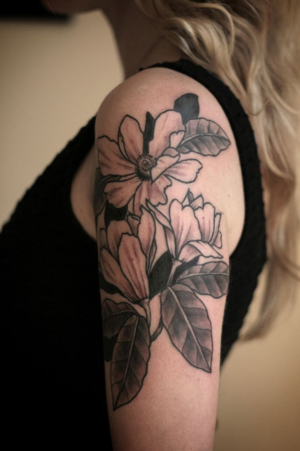 wonderful Magnolias shouder tattoo on shoulder With colourful ink For Man And Woman