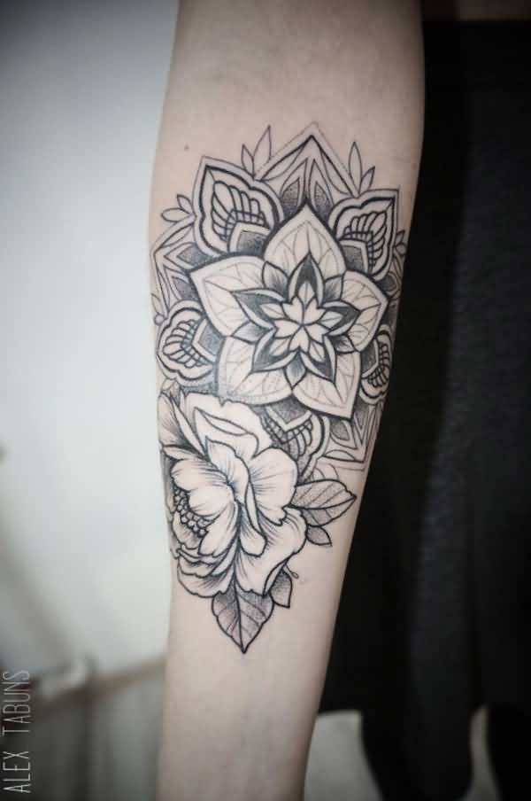 Wonderful Mandala And Flower Tattoo With Black Ink On Arm For Man Woman
