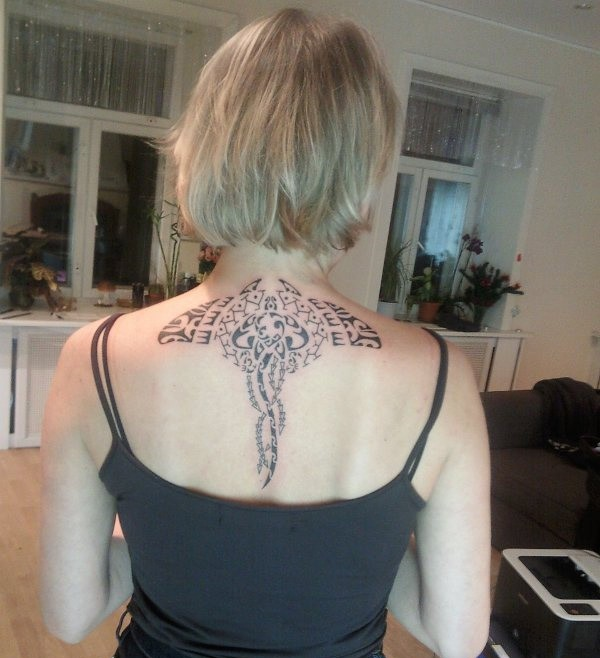 wonderful Manta Ray tattoo on back With Black Ink For Man And Woman
