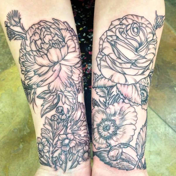 wonderful Peony tattoo on wrist With Black ink For Man And Woman