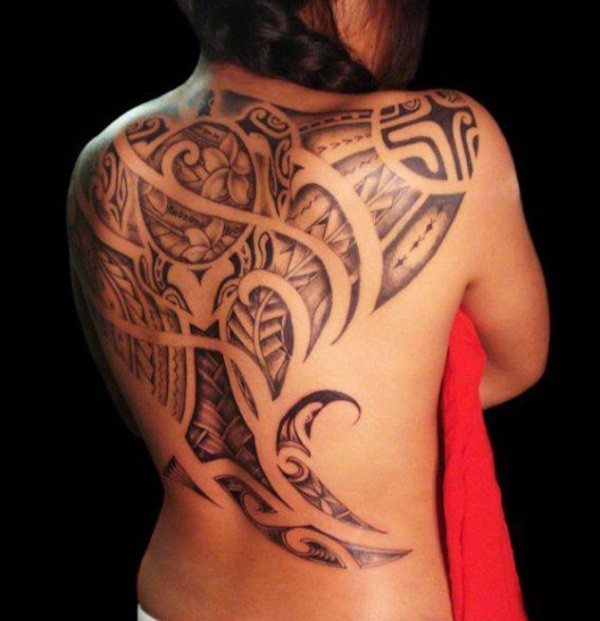 Wonderful Ray Tattoo On Back With Black Ink For Man And Woman
