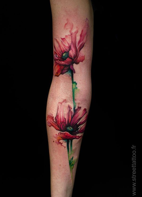 Wonderful Watercolor Tattoo On Sleeve With Colorful Ink For Man Woman