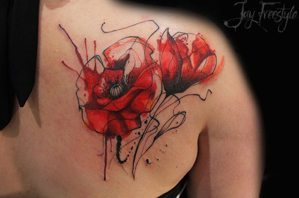 wonderful With colourful ink For Man And WomanPoppies tattoo