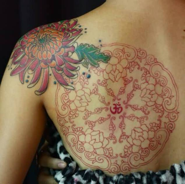 wonderful chrysanthemum back tattoo for girl on back with colourful ink for man & woman