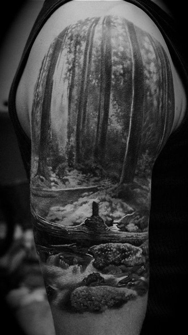 wonderful forest tattoo on sleeve half sleeve With Black ink For Man And Woman