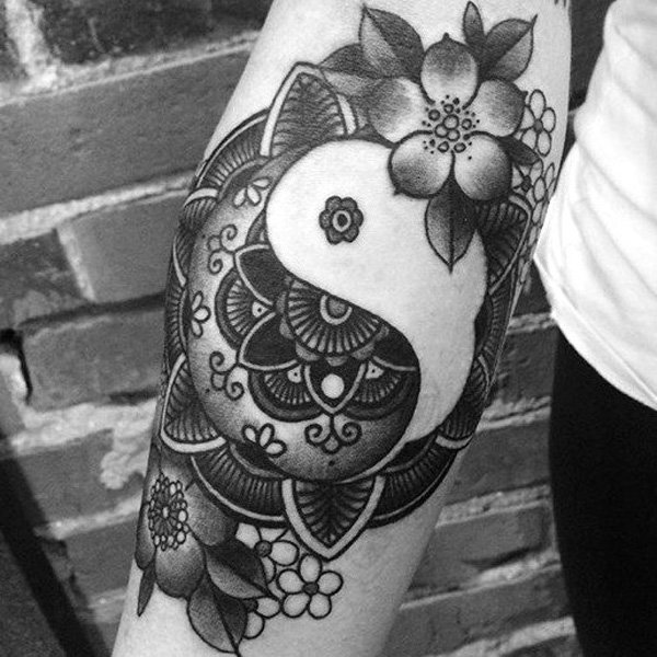 Wonderful Mandala Yin Yang Sleeve Tattoo With Black Ink For Man Woman