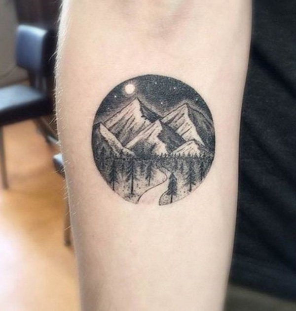 wonderful mountain tattoo on wrist With Black ink For Man And Woman
