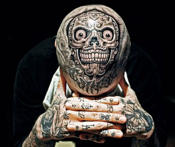 wonderful tattoo on the head for men With Black ink For Man And Woman