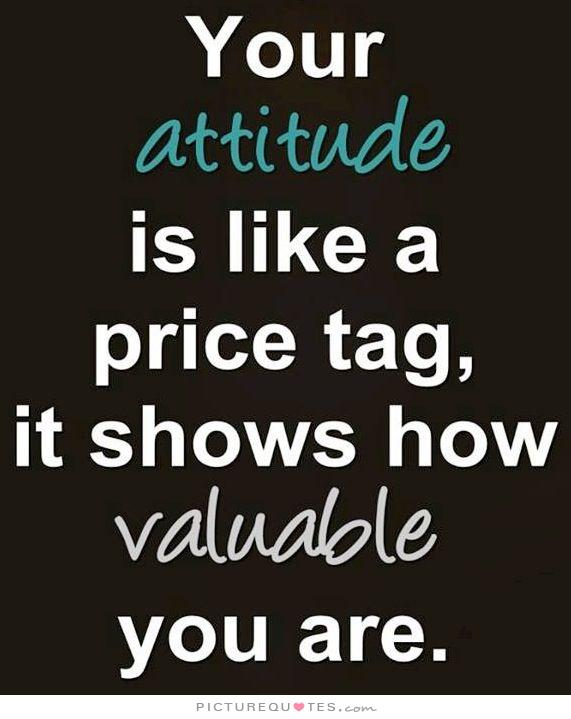 Your Attitude Is Like A Price Tag It Show How Valuable You Are