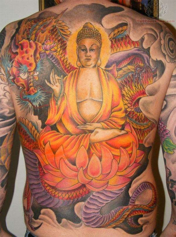 Adorable Yellow Blue Black And Red Color Ink Back Piece Buddha Tattoo On Full Back For Boys