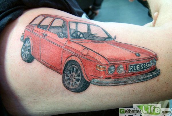 Amazing Black And Red Color Ink Red Car Tattoo On Muscles For Boys