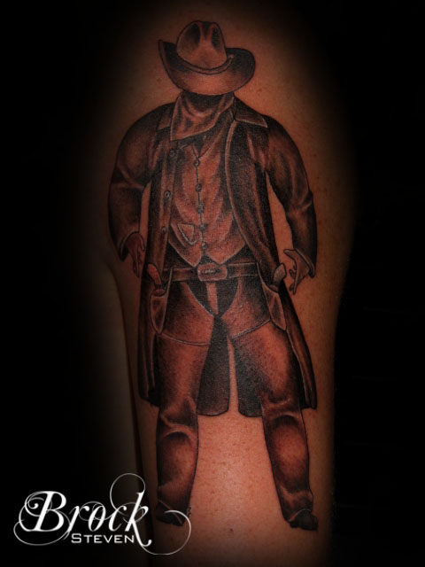 Amazing Black And Red Color Ink Standing Cowboy Tattoo Design For Girls