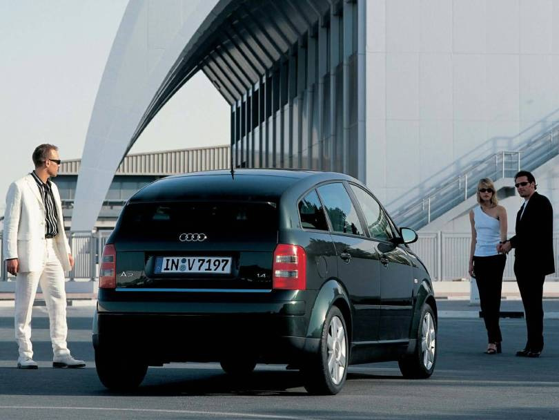 Amazing Black Audi A2 car back side view
