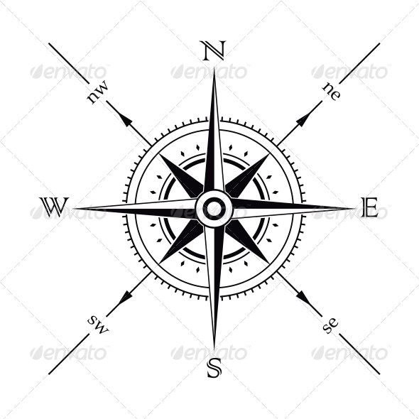Amazing Black Color Ink Compass Tattoo Design For Boys