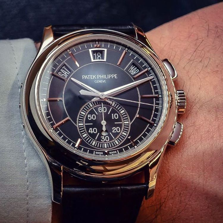 Amazing Black Patek Philippe Black Dial Watch With Date