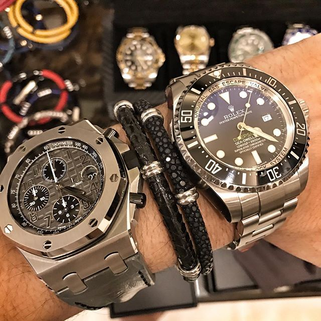 Amazing Collection Of Watch And Black Bracelet For Guy