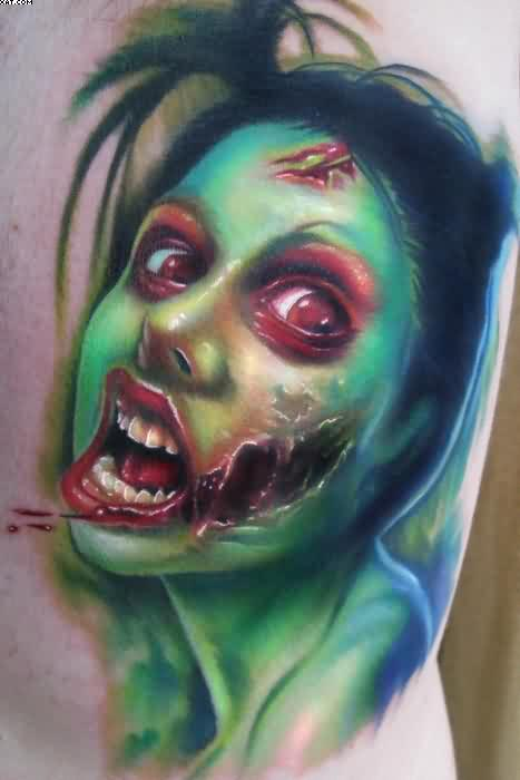 Amazing Tumblr Zombie Girl Tattoo For Woman