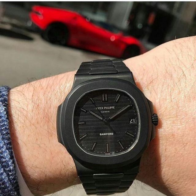 Attractive Full Black Patek Philippe Wrist Watch For Men