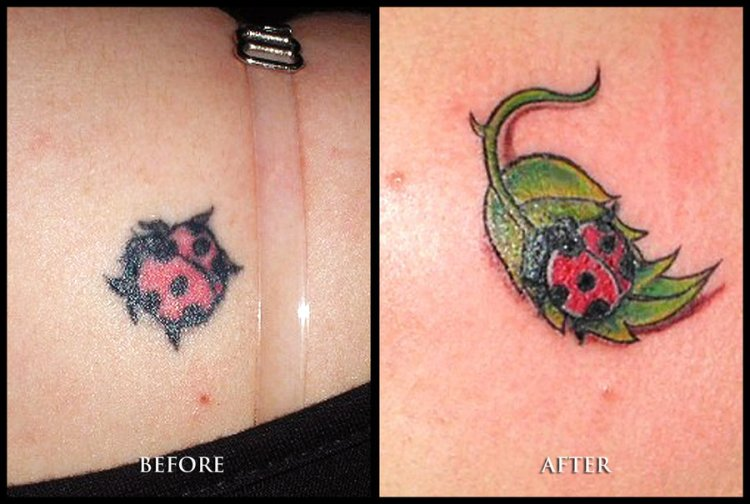 Attractive Green Black And Red Color Ink Lady Bug Tattoo Designs For Girls
