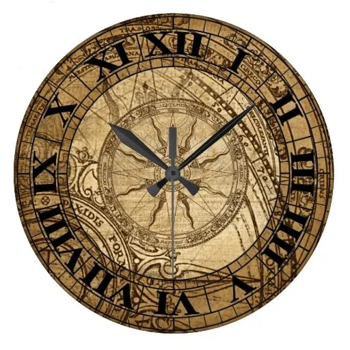 Attractive Yellow And Black Color Ink Vintage Compass Art Clock Tattoo Model For Boys