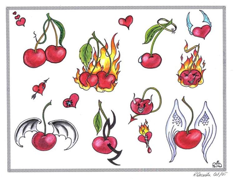 Attractive Yellow Black Green And Red Color Ink More Cherry Tattoo Designs For Girls