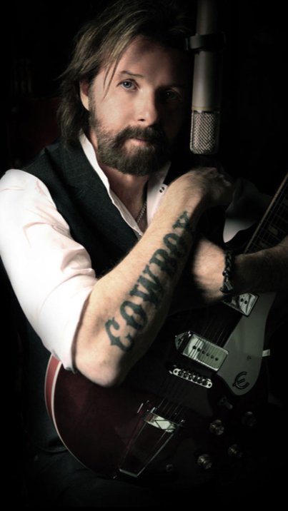 Awesome Black Color Ink Ronnie Dunn Cowboy Tattoo On Arm For Boys