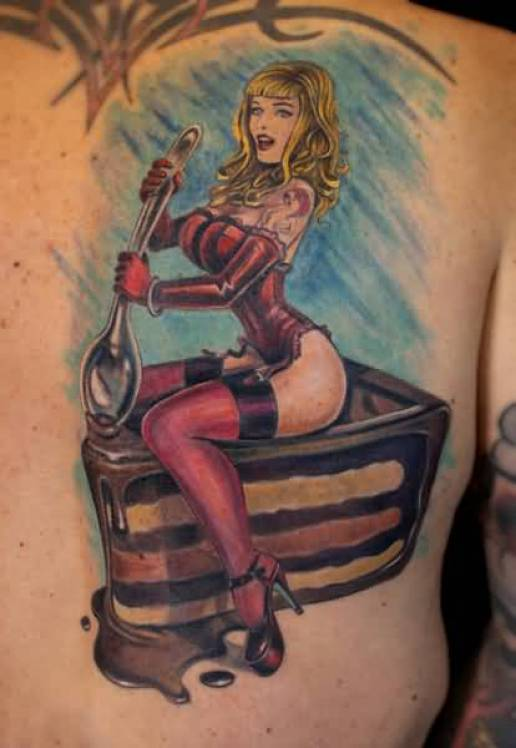 Awesome Blue Black And Red Color Ink Pinup Girl On Piece Of Cake Tattoo On Shoulder For Boys