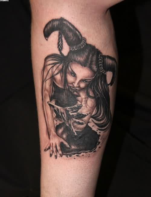 Awesome Horned Zombie Lady Tattoo For Man