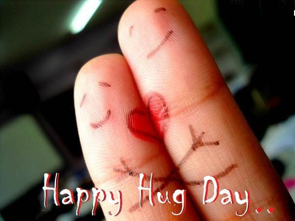 Awesome Hug Day Greeting In Finger Image