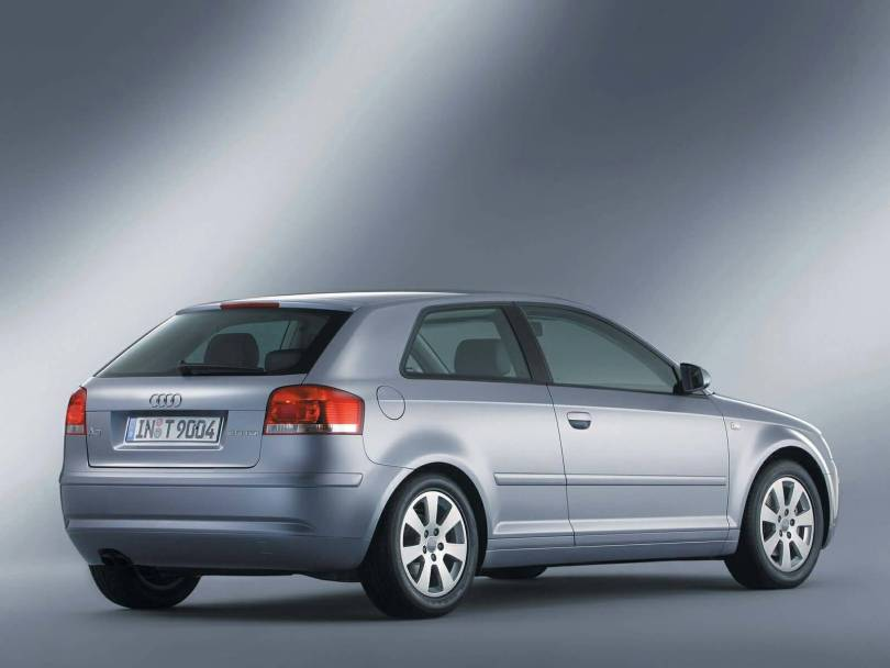 Back or right side view of beautiful silver Audi A3 car