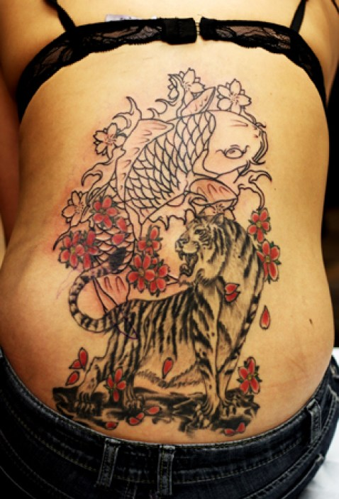 Beautiful Black And Red Color Ink Asian Lower Back Tattoo For Girls