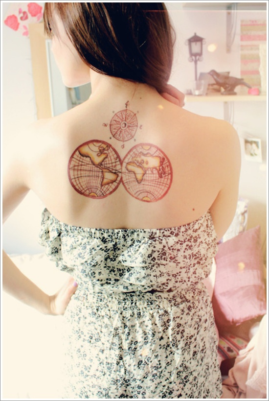 Beautiful Black And Red Color Ink World Compass Tattoo On Back For Girls
