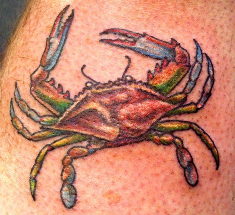 Beautiful Blue Green Red And Black Color Ink Crab Tattoo For Boys