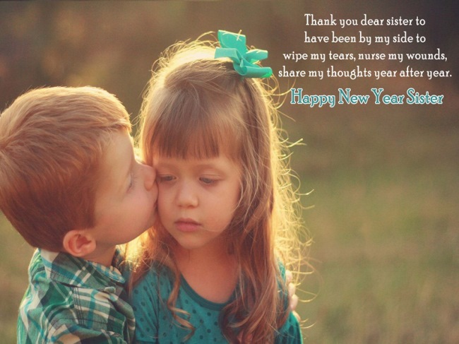 Beautiful Happy New Year Greetings Message To My Lovely Sister Wishes Image
