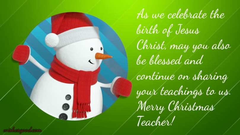 Beautiful Merry Christmas Wishes For Teacher