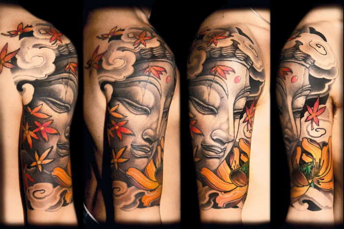 Beautiful Yellow Red And Black Color Ink Half Sleeve Buddha Tattoo On Shoulder For Boys