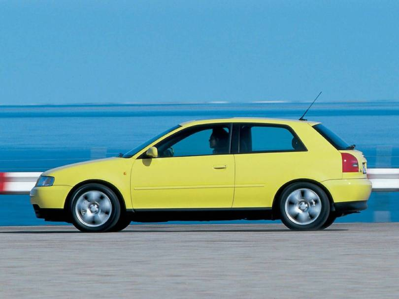 Beautiful left side view of yellow Audi A3 car