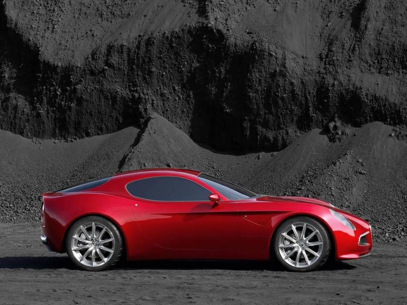 Beautiful red Alfa Romeo 8C Competition Car Right side