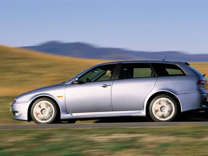 Beautiful silver Alfa Romeo 156 GTA Car on the road