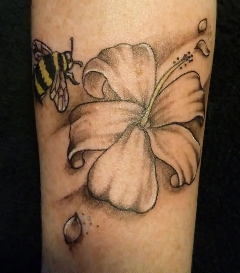 Best Ever Black And Yellow Color Ink Bee & Flower Tattoo On Arm For Girls