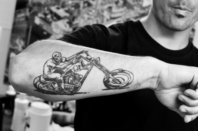 Best Ever Black & White Color Ink Bike Tattoo On Forearm For Boys