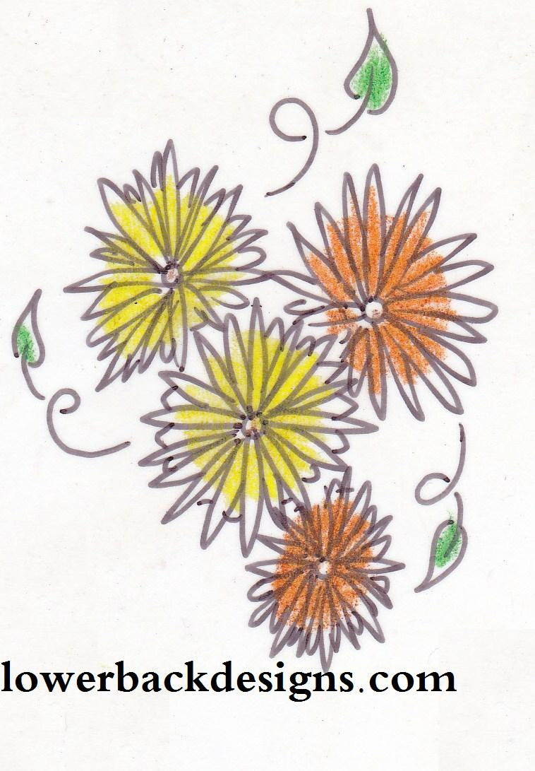 Best Ever Yellow Orange And Black Color Ink Daisy Tattoo Designs For Lower Back For Girls