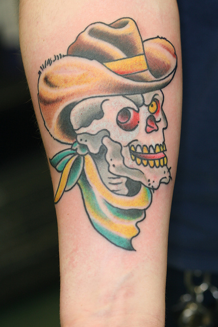 Best Ever Yellow White And Green Color Ink Cowboy Skull Tattoo On Forearm For Boys