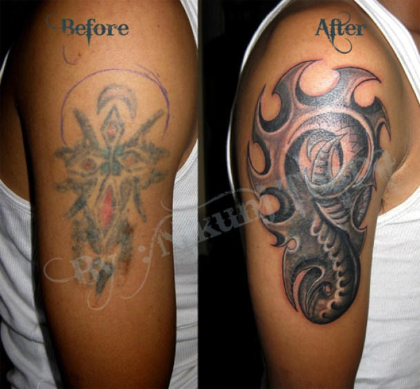 Best Red And Grey Color Ink Biomechanical Tattoo Design For Biceps For Boys