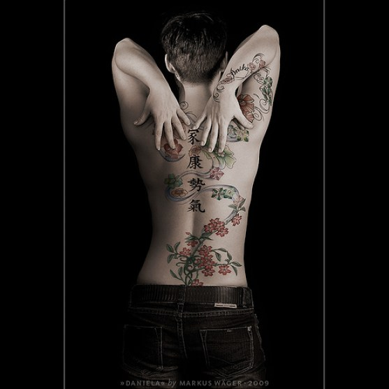 Brilliant Black Red And Green Color Ink Asian Tattoo Art For Body On Boys