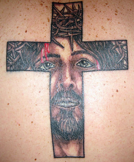 Brilliant Red And Black Color Ink Christian Jesus Cross Tattoo For Boys