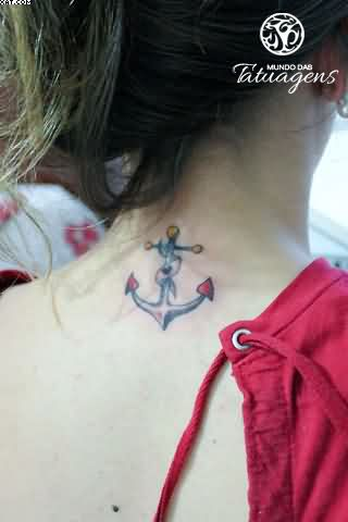 Brilliant Red And Blue Color Ink Anchor Symbol Tattoo On Back For Girls
