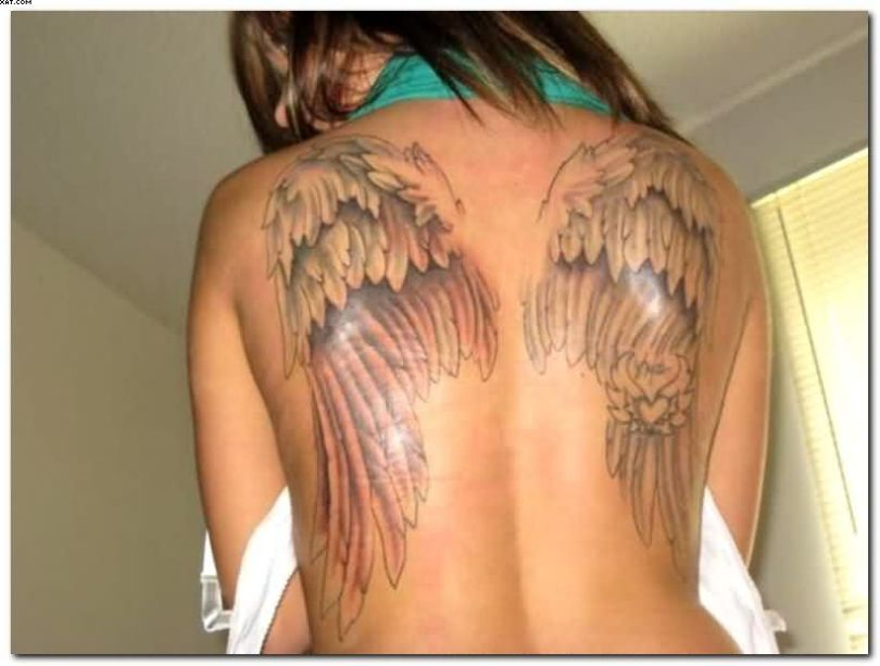 Brilliant Red Light And Black Color Ink Fabulous Angel Wings Tattoo On Back For Girls