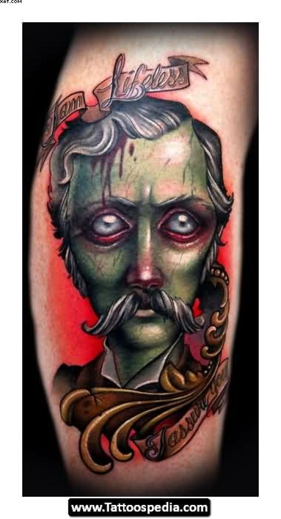 Cartoon Zombie Gentleman Tattoo Picture