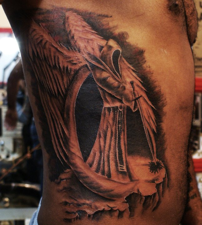 Charming Black And Red Color Ink Dark Angel Of Death Tattoo On Ribs For Boys